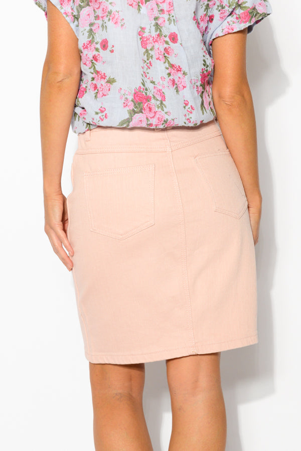 Marlo Pink Cotton Denim Skirt - Blue Bungalow