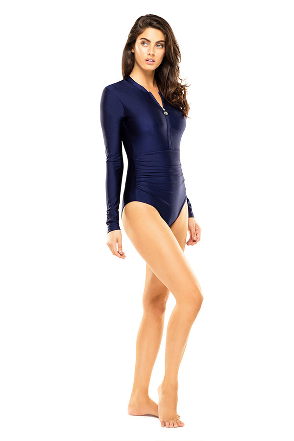 Emma Navy Sleeved One Piece - Blue Bungalow
