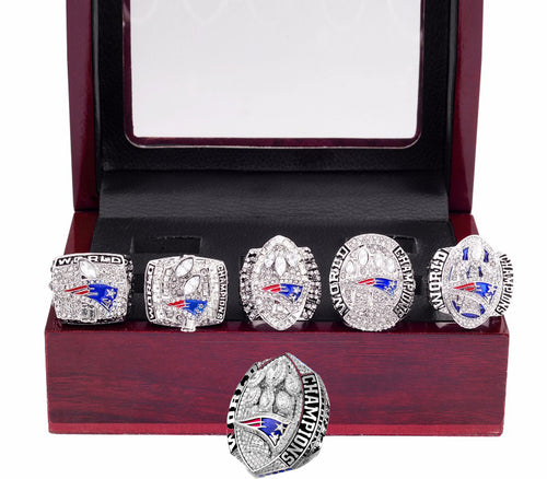 New England Patriots Superbowl Ring Set (2002, 2004, 2005, 2015, 2017, 2019) - Brady - Championship Rings