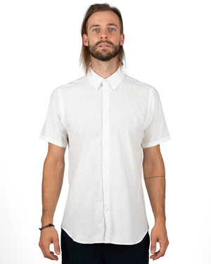 Men's White Short sleeve button up shirt with small flecks of colour - front