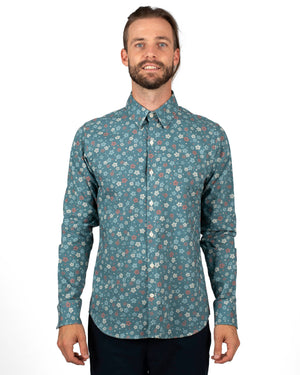 Blue Wildflowers Long Sleeve Shirt by 18 Waits | Front