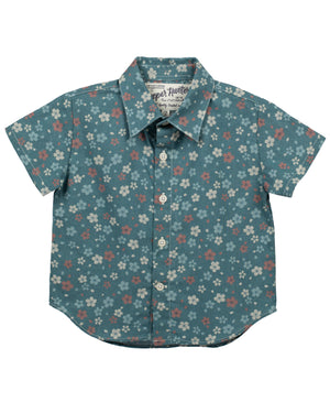 Short Sleeve Shirt | Blue Wildflowers