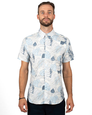 Men's short sleeve button up shirt, white base with blue flowers and leaves - front