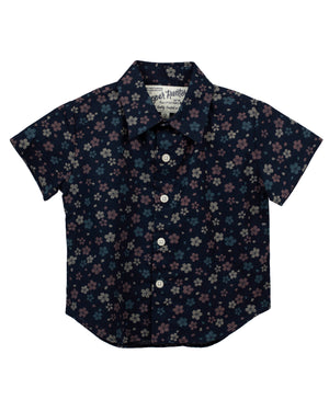 Short Sleeve Shirt | Navy Wildflowers