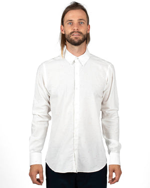 18 Waits Long Sleeve Shirts for Men White with colourful flecks | front