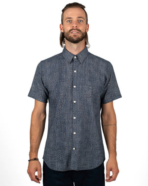 Men's Short Sleeve Navy Cotton shirt with subtle white eye pattern - front