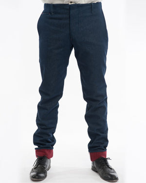 Mens Indigo Lined Trousers | 18 Waits | Front