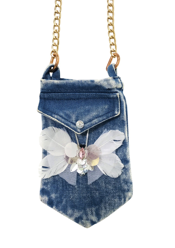 DOLLY by Le Petit Tom ® ANGELS butterfly denim phone purse - DOLLY by Le Petit Tom ®