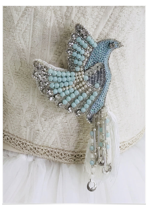 DOLLY by Le Petit Tom ® BOHO blue bird broach - DOLLY by Le Petit Tom ®