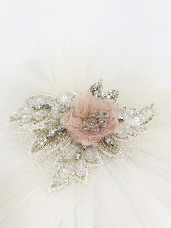 DOLLY by Le Petit Tom ® JEWELER'S CRYSTALS Opal ballet pink hair clip/ broach