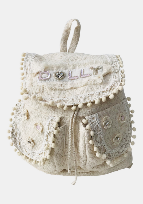 DOLLY by Le Petit Tom ® JEWELER'S CRYSTALS Crystals backpack 'Dolly' with pompoms