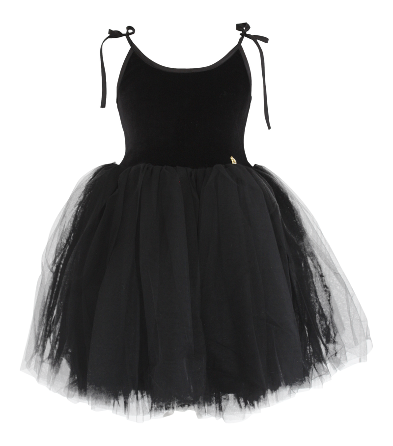 DOLLY by Le Petit Tom ® VELVET SABRINA TUTU dress black - DOLLY by Le Petit Tom ®