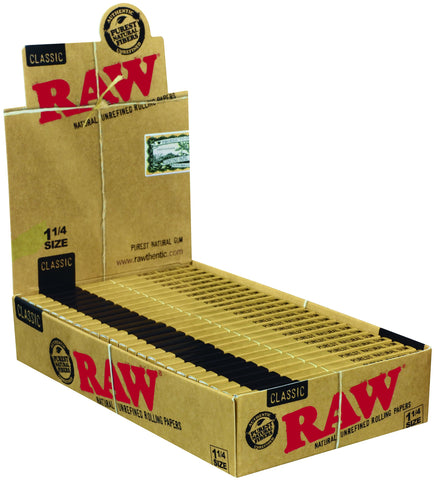 RAW CLASSIC ROLLING PAPERS 1 1/4 PACK OF 24 - Green Caviar Club
