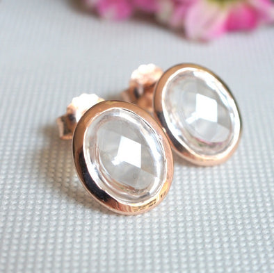 Oval Clear Quartz Rose Gold Ear Studs