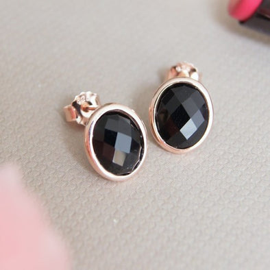 Oval Black Onyx Rose Gold Ear Studs