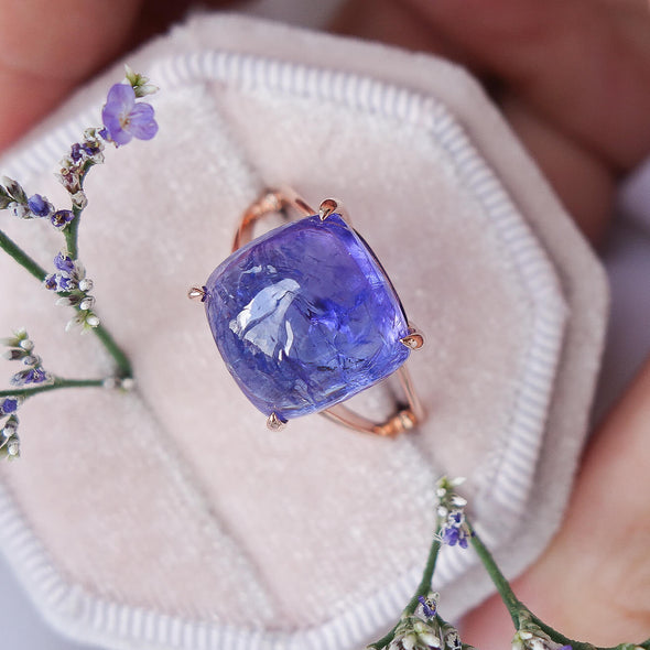 Square Tanzanite Cabochon Ring in 14K Rose Gold