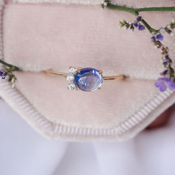 Sapphire Sideswept Cabochon Ring with White Sapphire - 14K Gold