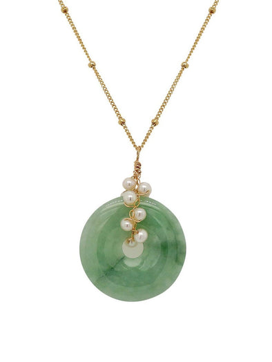 Jade with Pearl Vine Necklace