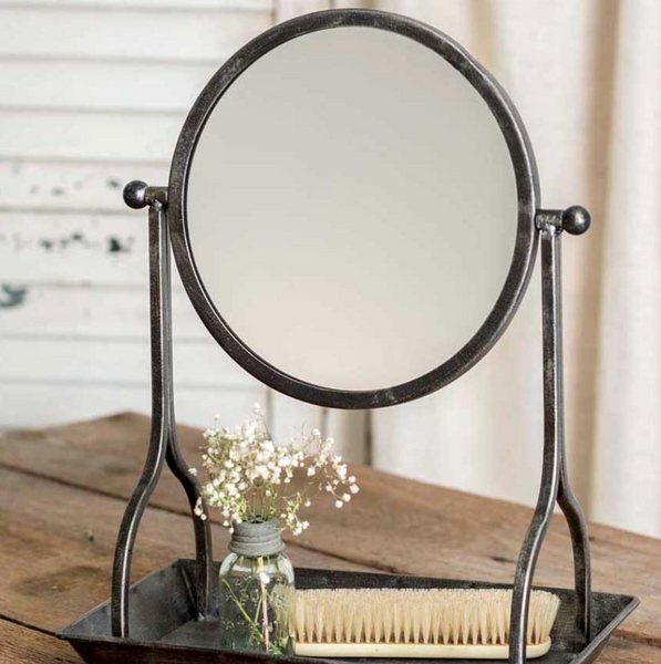 Bathroom mirror and tray