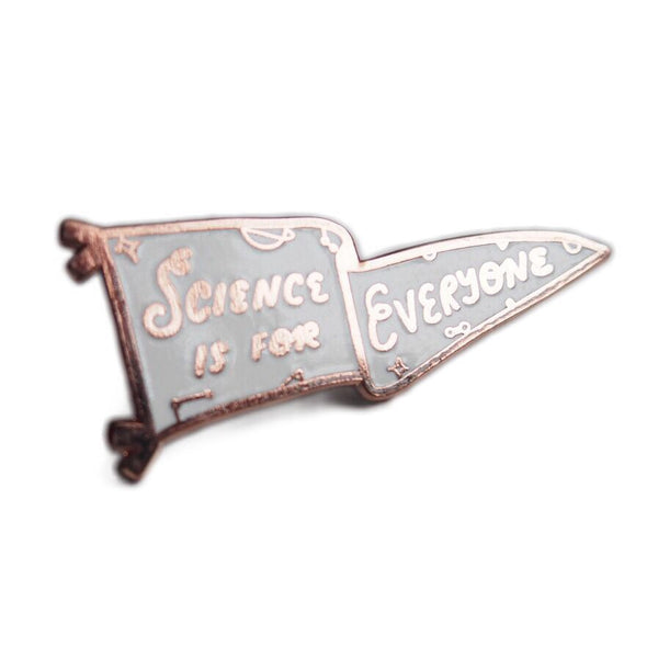 Science is for Everyone Pennant Enamel Pin - Rose Gold