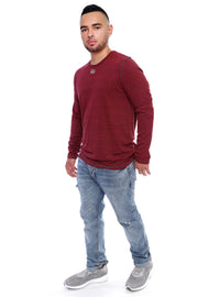 Berry Red Long Sleeve Tee Full Model View