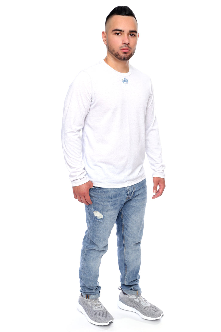White Long Sleeve Tee Full Model View