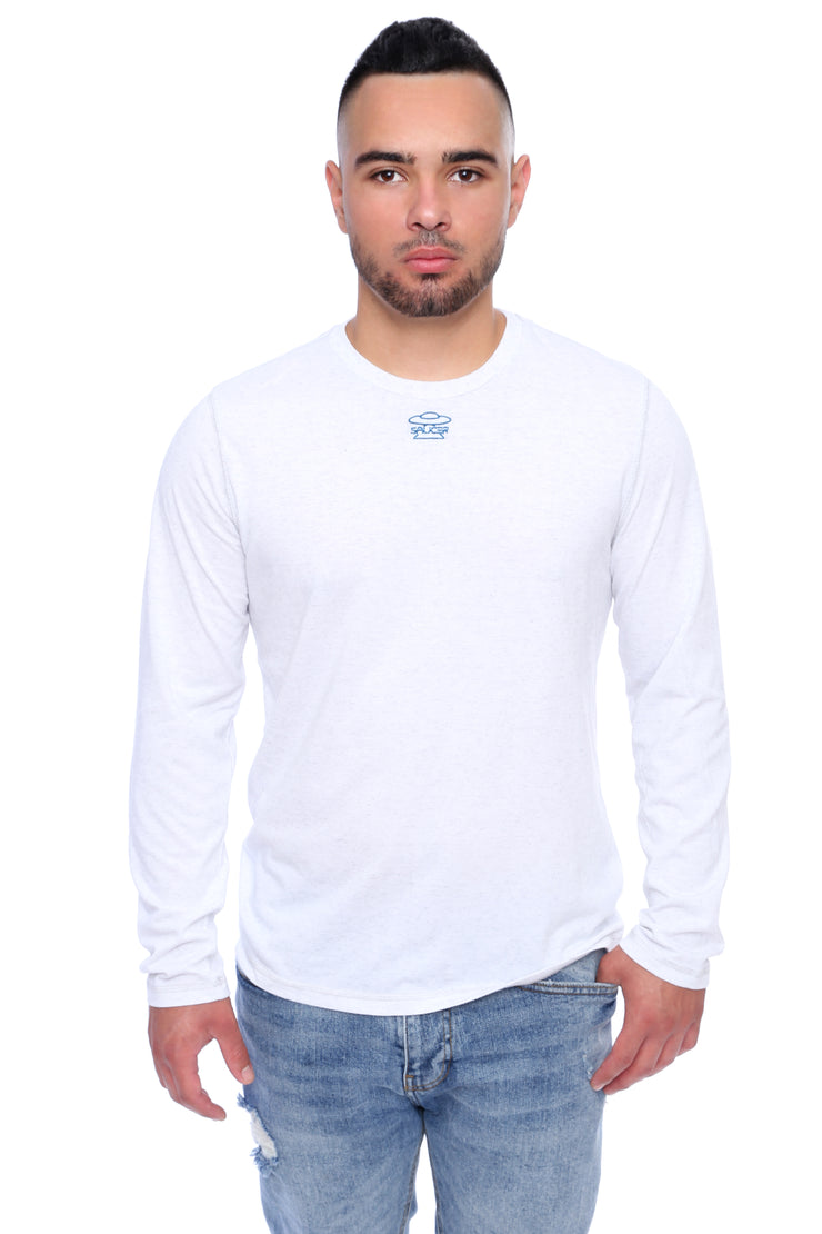 White Long Sleeve Tee Model View