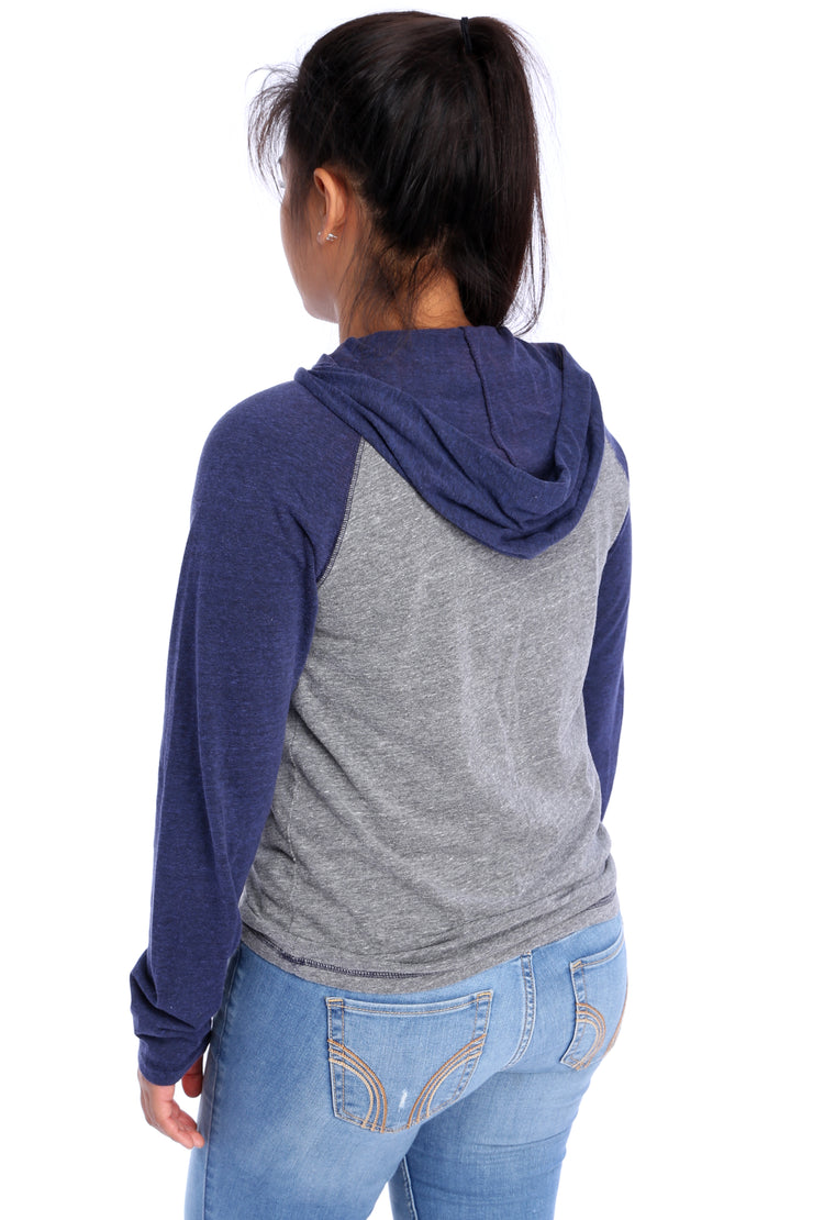 Navy/Grey Performance Hoodie Back View