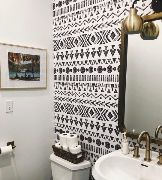 Boho bathroom wallpaper