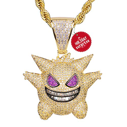 Diamond Chain Gengar Chain Pokemon Necklace White Gold Plated with Killy Pendant Ice Out Hip Hop Medallion 24