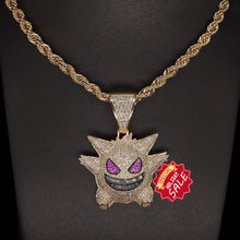 "Diamond Chain Gengar Chain Pokemon Necklace White Gold Plated with Killy Pendant Ice Out Hip Hop Medallion 24"" Rope Chain + Storage Case + Microfiber Cloth"