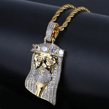 Vintage Jesus Crown My Big Zircon Pendant Necklace Jewelry Micro Inlay Hip Hop Men's Pendant - QJ jewelry