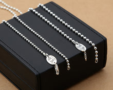 S925 sterling silver round bead necklace pendant long sweater chain retro beads - QJ jewelry