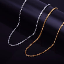 "Men's Hip Hop Rapper's Chain 3mm 18"" 20"" 24"" 30"" Gold Silver Color Stainless steel Rope Link Necklace Hip hop Jewelry For Women"
