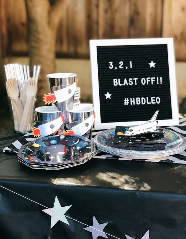 Space themed party tableware
