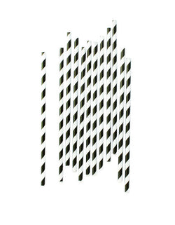 Eco Friendly Black Striped Party Paper Straws