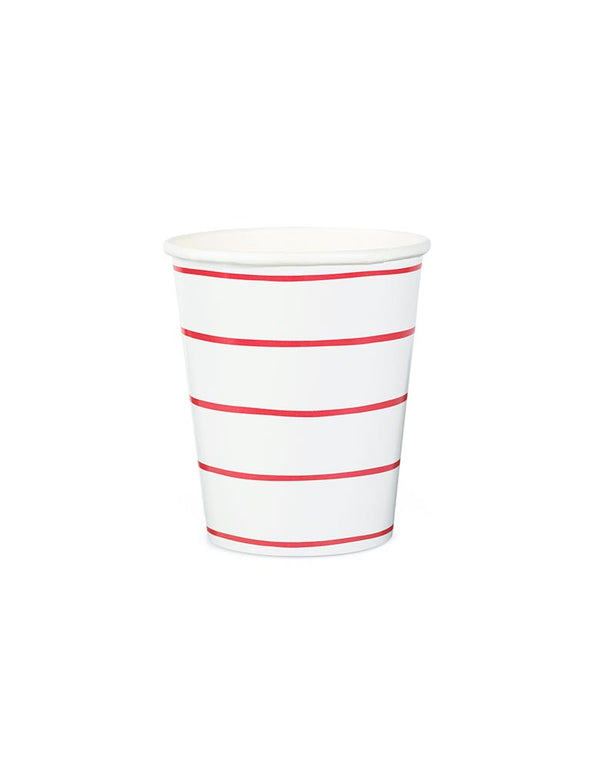 Red Striped Cups (Set of 8)