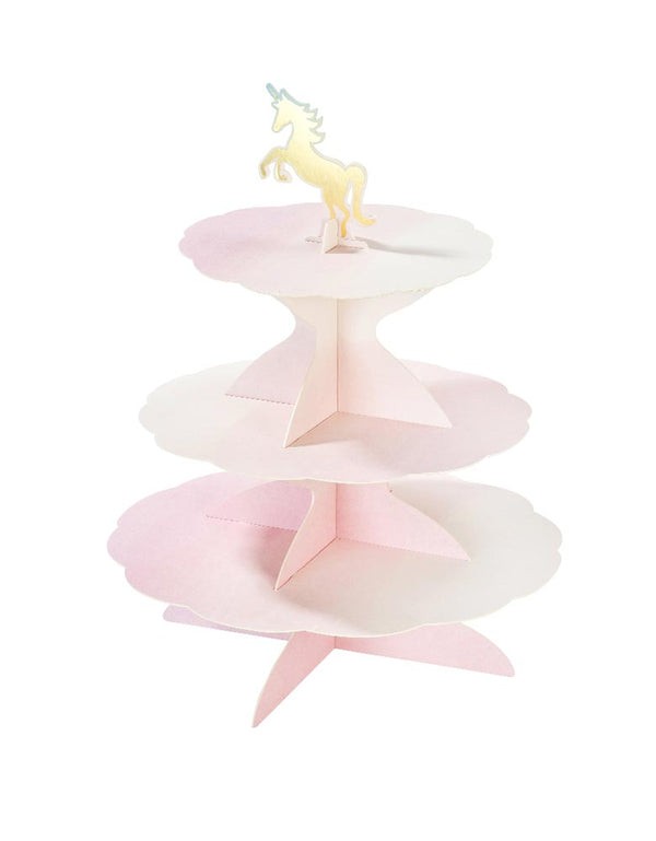 Pink Assemble and reversible cupcake stand with Unicorn topper