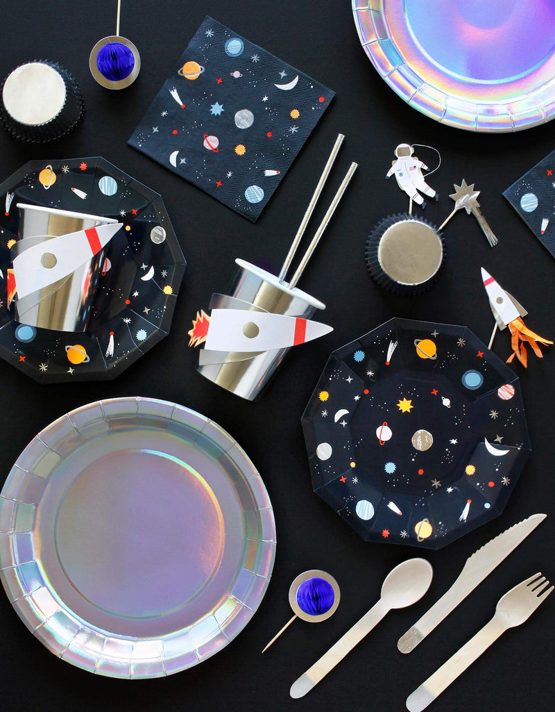 kids outer space birthday party tablewares