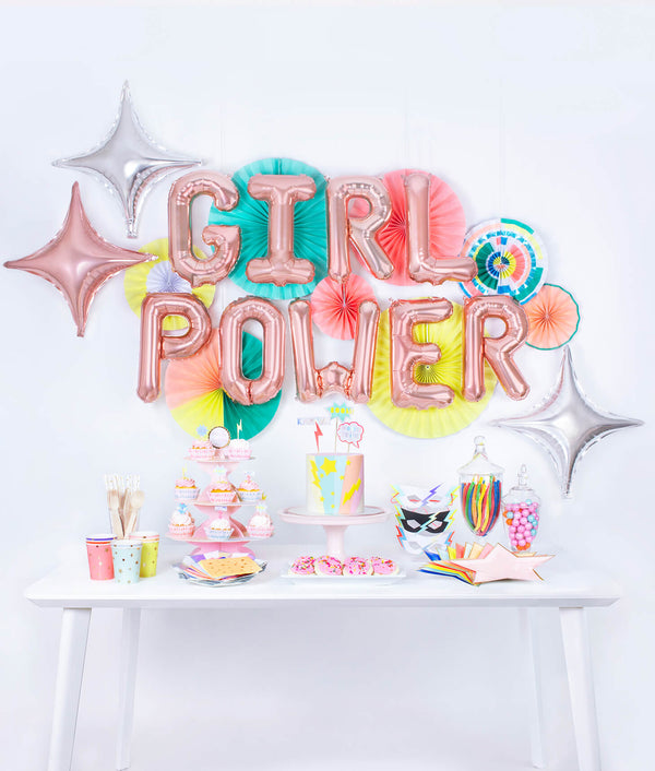 Girl Power Superhero themed Birthday Party Set Up in a box