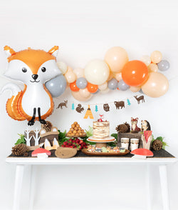 Kid's Orange Woodland Themed Birthday Party Decoration