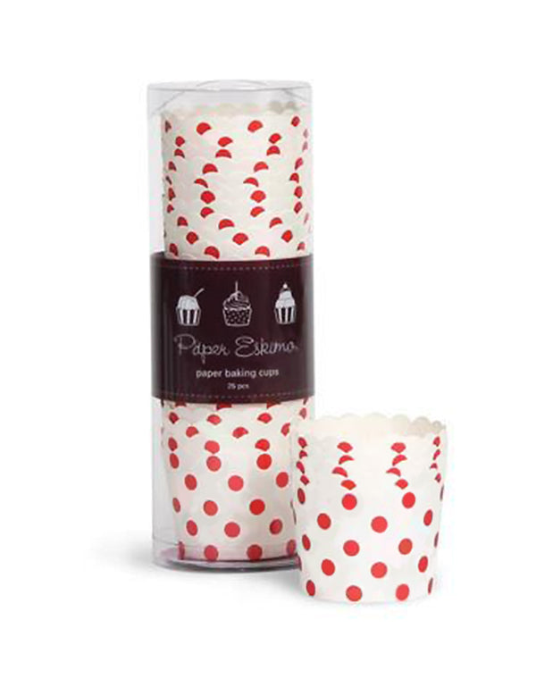 Paper Eskimo Red Dots Cupcake Baking Cups