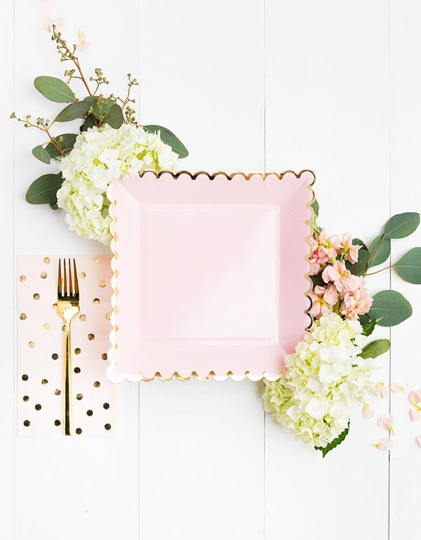beautiful Blush Large Plates for Girls Birthday Party, Baby Showers