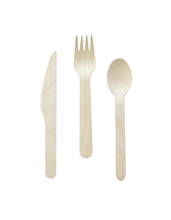 Wooden Cutlery Set (Set of 24)