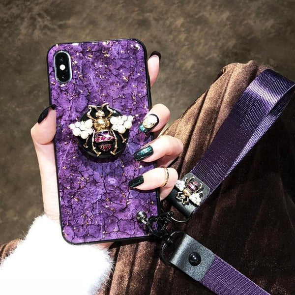 2019 New Bee-shaped iPhone Case with PopSockets and Hairball and 2 Lanyards for iPhone 6/6s/7/7p/8/8p/6p/6sp/X/XS/XS Max/XR