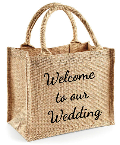 Burlap ute wedding welcome tote bags