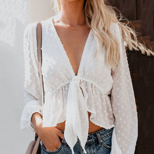 Fashion Plain Long Sleeve Blouse