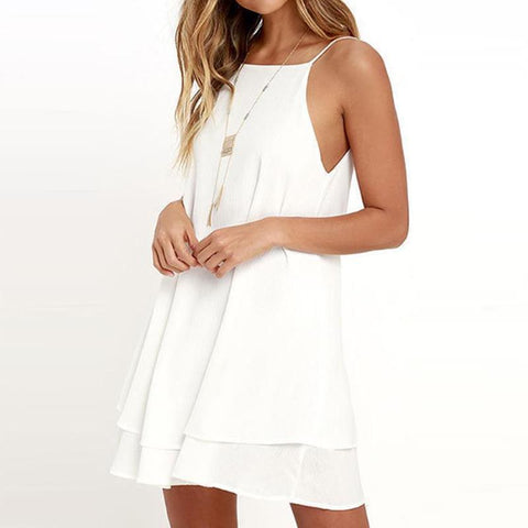 Spaghetti Strap Backless Plain Sleeveless Mini Dresses