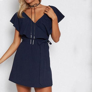 V Neck  Flounce  Belt  Plain  Short Sleeve Casual Mini Dress