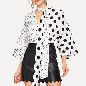 Commuting V Neck Polka Dot Blouse
